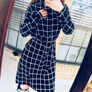 Checkered Vintage Tie-waist Dress